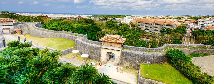 Okinawa Island Hopping - Japan Naha, the outer wall of Shuri Castle.