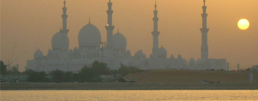 Abu Dhabi Stop Over - Abu Dhabi Sheikh Zayed Mosque at sunset
