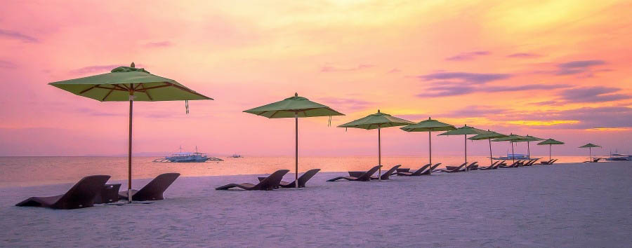Mare a Bohol - Philippines Bohol, Panglao Island, South Palms Resort, Beach at Sunset