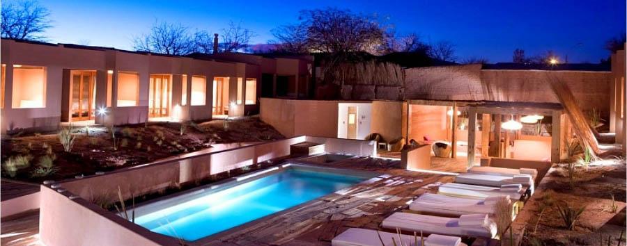 Cile,  Charming Atacama - Chile Casa Atacama, pool area by night