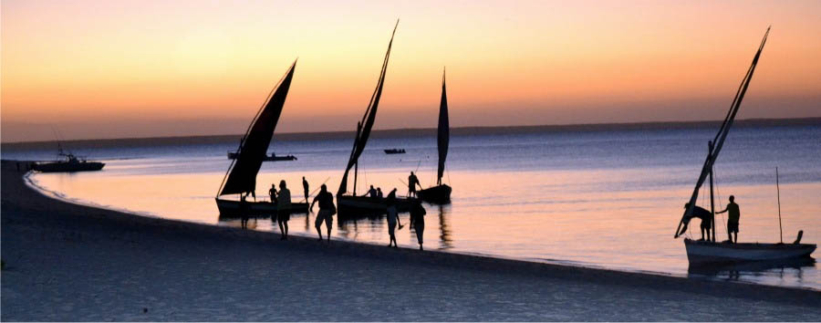 Mozambique - Dhow at Sunset in Benguerra Island