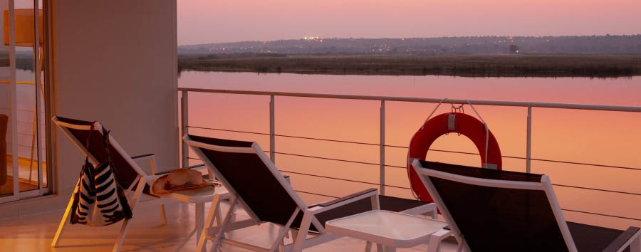 Zambezi Queen - View from balcony at sunset