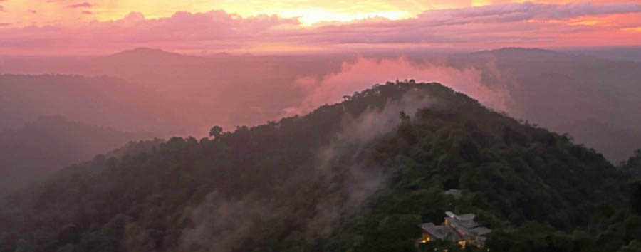 A luxury cocoon in the clouds - Ecuador Mashpi Lodge, Aerial View at Sunset © Metropolitan Touring