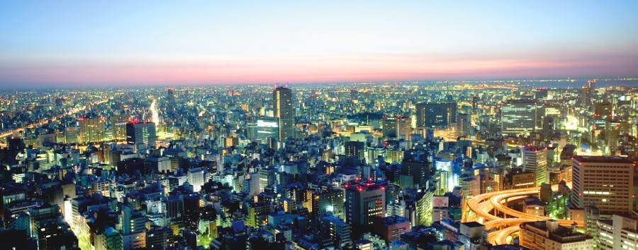 Fra Tradizione e Modernità - Japan Tokyo, Aerial View by Night
