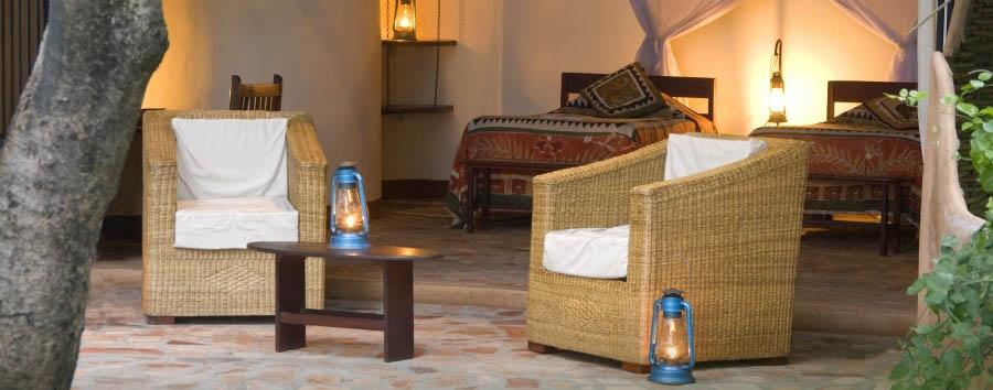 Nkwali - Chalet cosy verandah