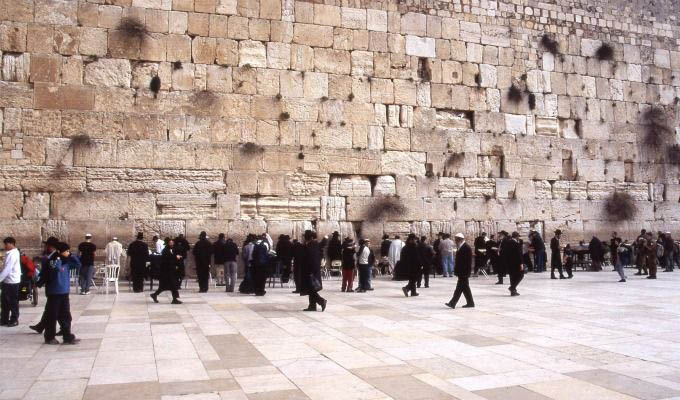Jewish Worshipers at The Western Wall - Israel, Jerusalem