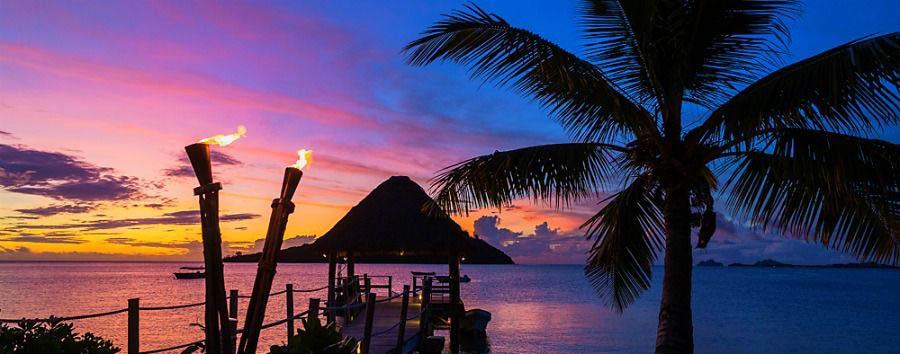 Fiji, mare a Malolo Island - Fiji Beautiful Sunset in Malolo Island