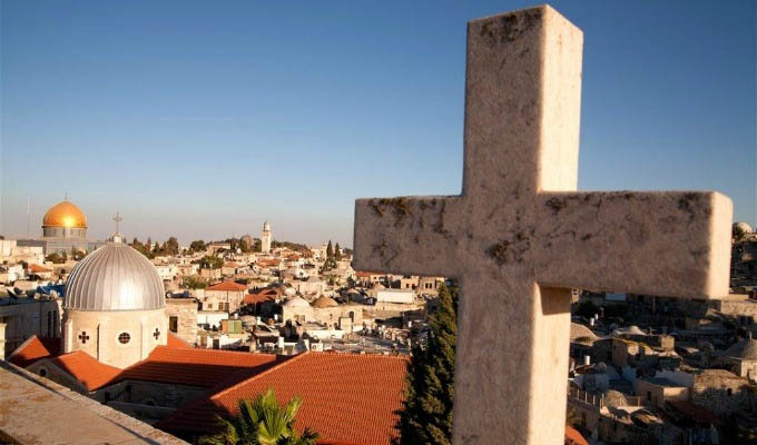 Cross on The Background of The Old City - Israel, Jerusalem