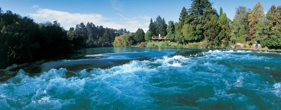 Time together in New Zealand - New Zealand Huka Lodge, Exterior View from Huka Falls