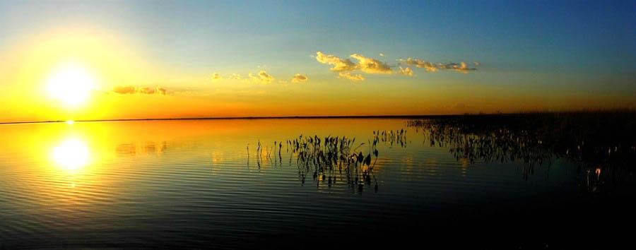 Wildlife of Argentina - Argentina Esteros del Iberá, Laguna Valle at sunset