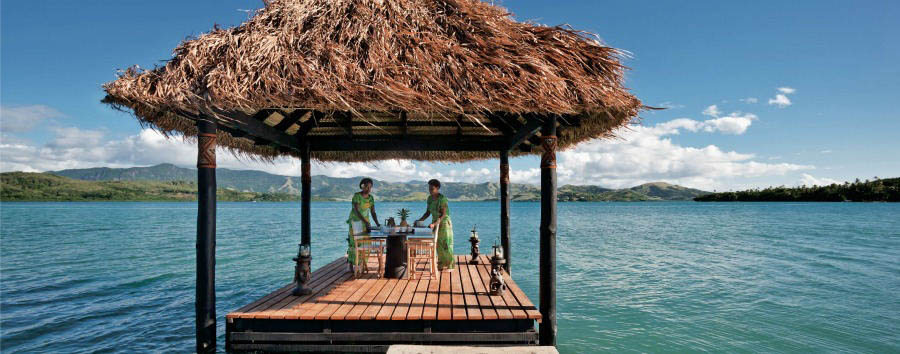 Pacific Time - Fiji Dolphin Island, Breakfast Set Up on the Pontoon Lagoon