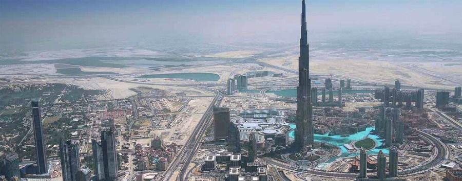 Shopping & Beach - Dubai Aerial View with Burj Khalifa