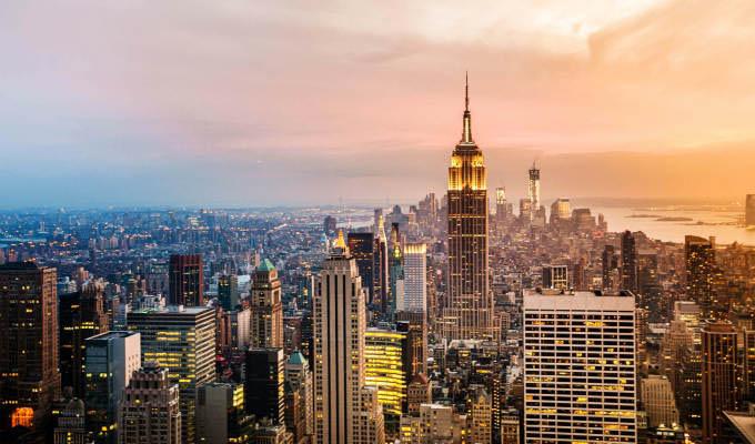 City skyline at sunset.© cocozero/Shutterstock - New York