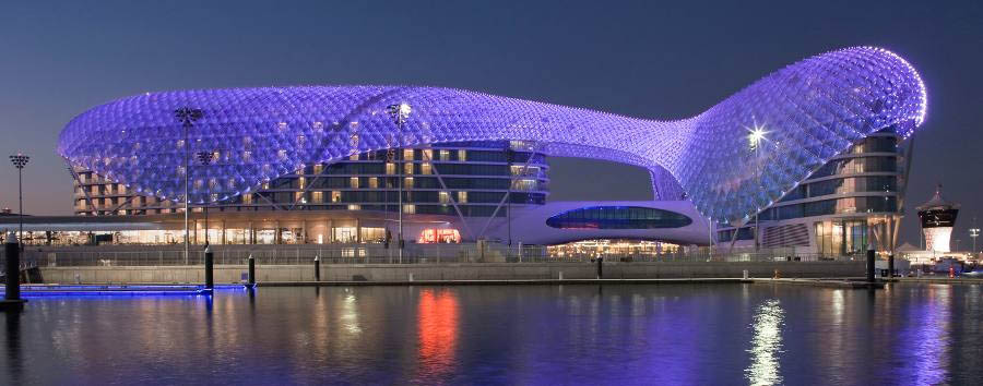Yas Viceroy Abu Dhabi - Exterior by night