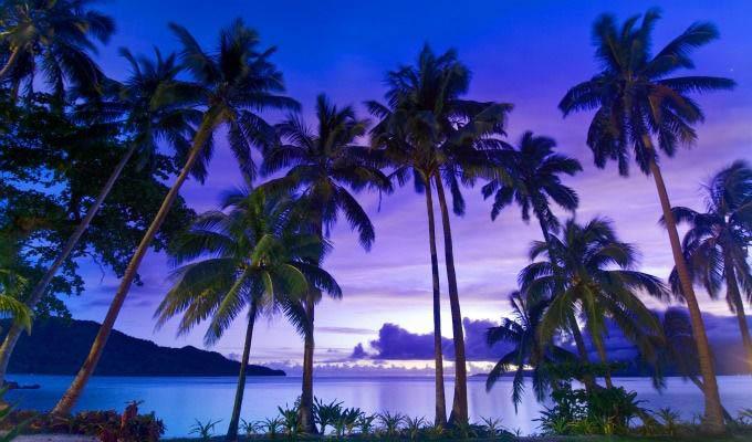 Qamea Resort & Spa, Beautiful Colours at Sunset - Fiji