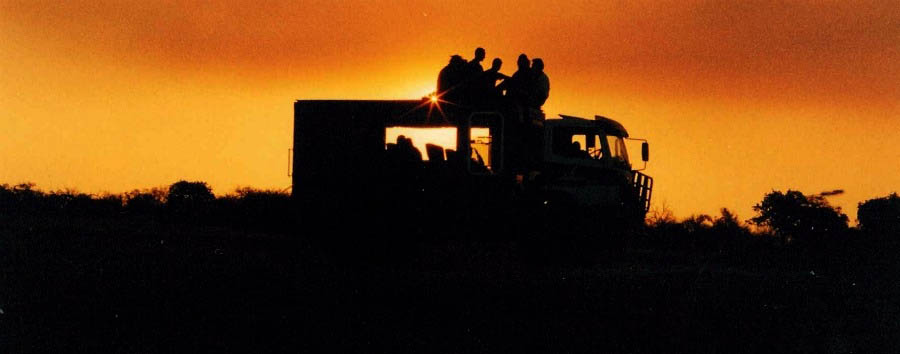 Zimbabwe - Truck in Hwange National Park at Sunset