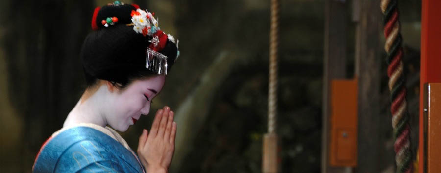 Made in Japan - Japan Kyoto, Maiko Praying at Matsuo Taisha Shrine