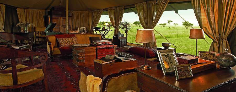 Singita Sabora Tented Camp - Main lounge