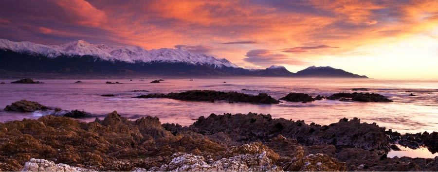 New Zealand Gourmet Escape - New Zealand Kaikoura Mountain Range at Sunset