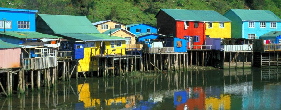 Chile - The traditional piling houses of Chiloé Island