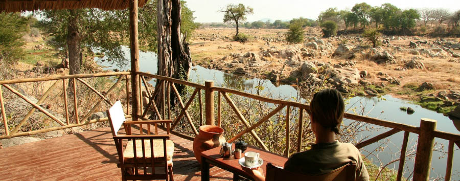 Ruaha River Lodge - Veranda on Ruaha river