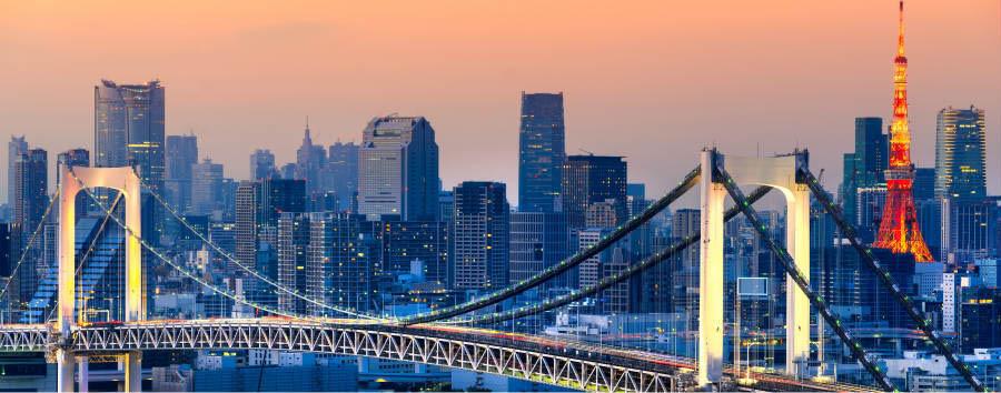 Giappone Classico - Japan Tokyo - skyline al tramonto