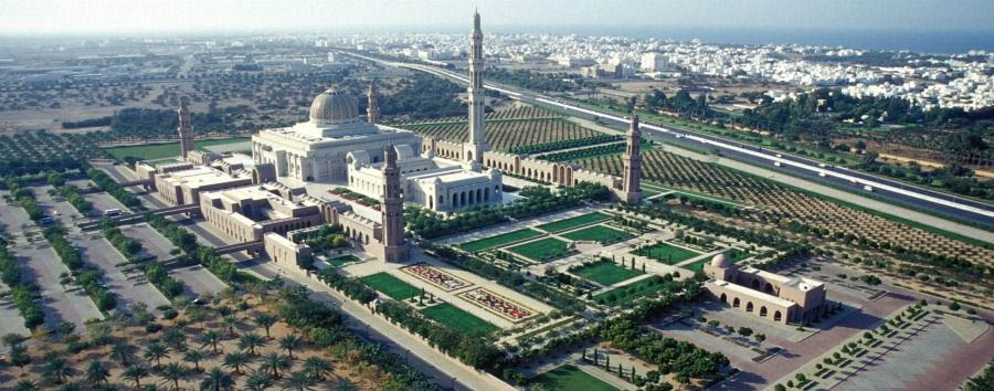 Oman - Muscat, Aerial View and Sultan Qaboos Grand Mosque