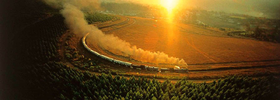 South Africa - Rovos Rail aerial view at sunset