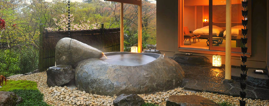 Giappone, Ryokan Experience - Japan Hakone, Gora Kadan room with open-air big stone bath