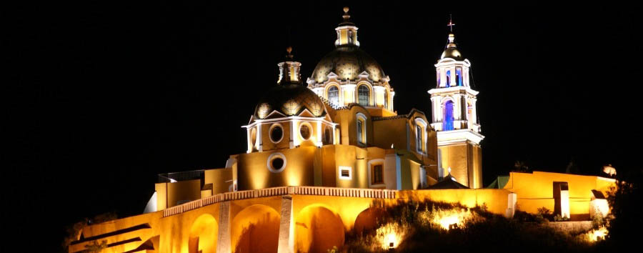 Oaxaca Magic - Mexico Puebla, Our Lady of Remedies Church in Cholula at Night