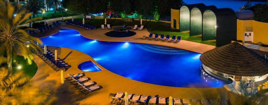 Dubai, Incredible Beach - Dubaid Golden Tulip Al Jazira, Pool at Night