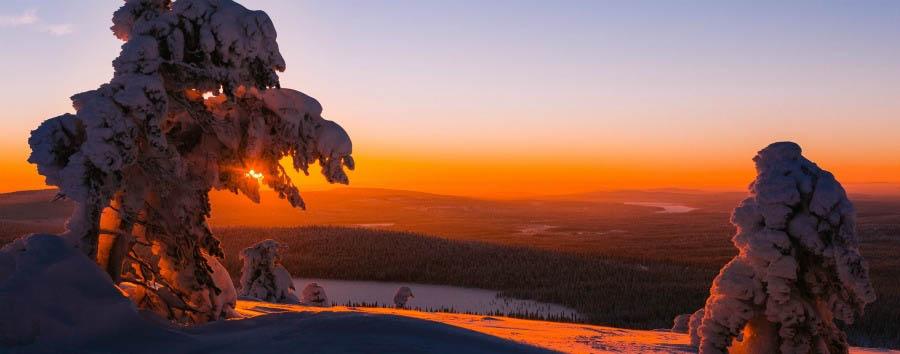 A caccia dell'aurora boreale - Finland Sunset in Ylläs © Daniel Taipale/Visit Finland