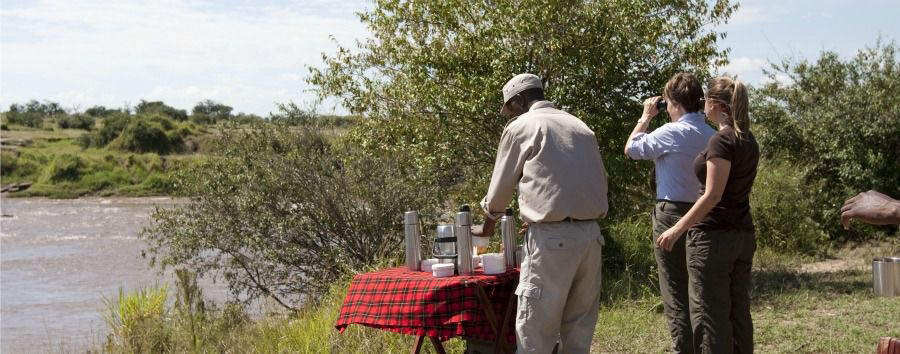 Sayari Camp - Breakfast on The Mara Riverbank