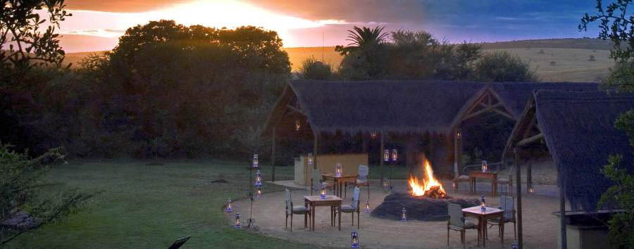 Gorah Elephant Camp - Boma at sunset
