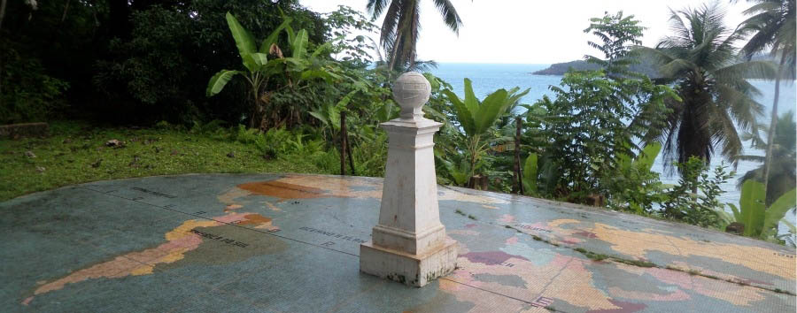 In the middle of the Equator - São Tomé Equator Landmark at Ilhéu das Rolas