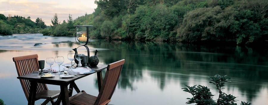 New Zealand, Enchanting Nature - New Zealand Huka Lodge, Dinner Set Up near the Waikato River Banks