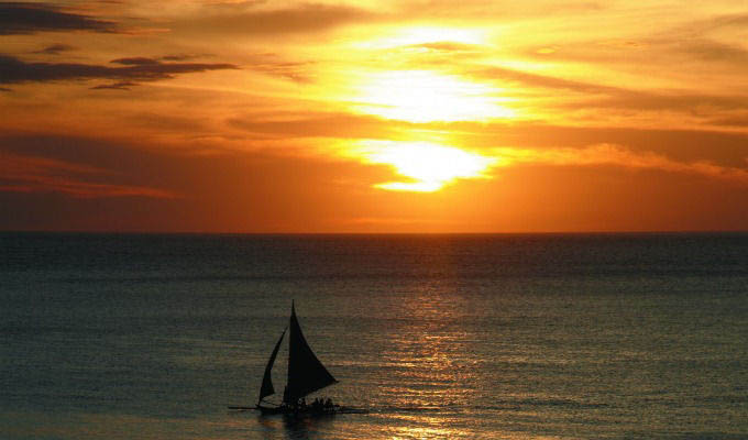 Sailing at Sunset in Boracay - Philippines
