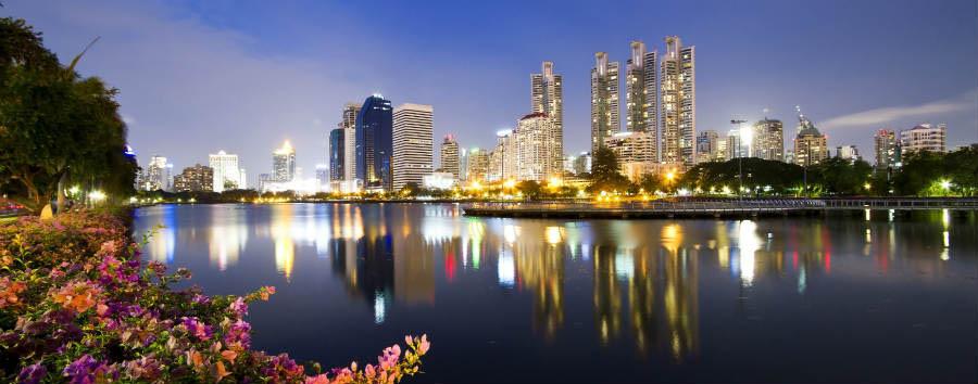 Bangkok City Break - Bangkok Bangkok city view at night,View the city from Benchakitti Park © Worraket/Shutterstock