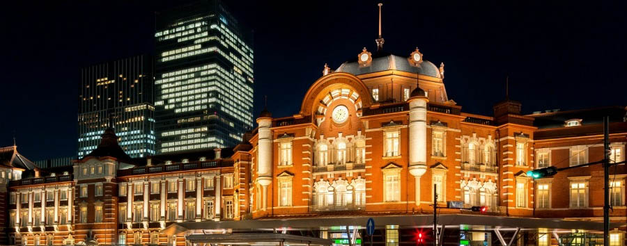 The+Tokyo+Station+Hotel+-+Exterior+at+Night