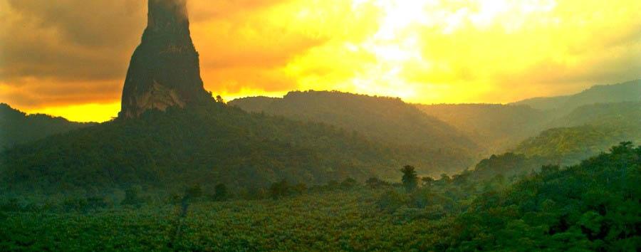 Nature, History & Culture - São Tomé Pico Cão Grande at sunset