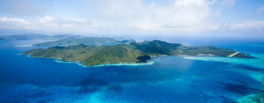 Fiji, mare a Laucala Island - Fiji Laucala Island, South Coast Aerial View