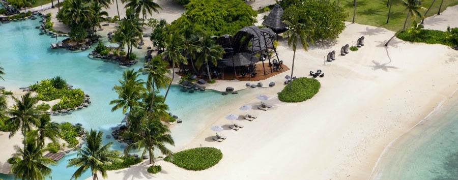 Fiji, mare a Laucala Island - Fiji Laucala Island Resort, Beach Bar Aerial View