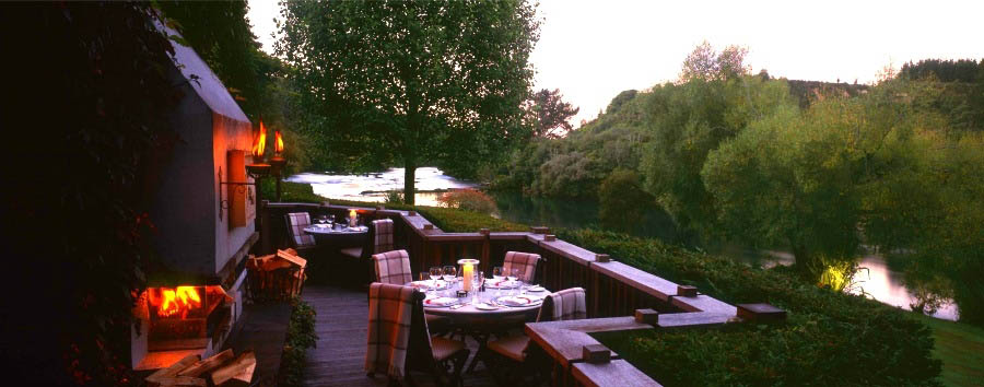 New Zealand Escape - New Zealand Huka Lodge, Dining on the Outdoor Terrace